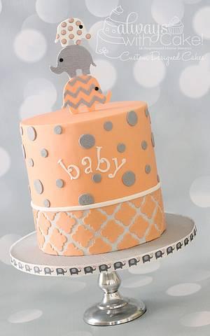 Elephant Baby Shower Cake - Cake by AlwaysWithCake