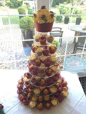 Burgundy and Cream Wedding Cupcake tower - Cake by Gabi's Cupcake Factory