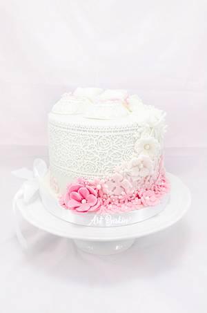 Flowers Christening Cake - Cake by Art Bakin'