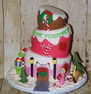 Topsy Turvy Grinch in Whoville Birthday Cake - Cake by DaniellesSweetSide