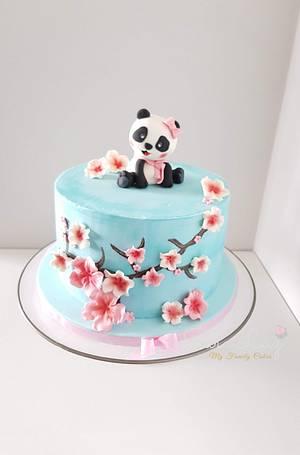 Panda and Cherry blossoms cake - Cake by Sara Luz