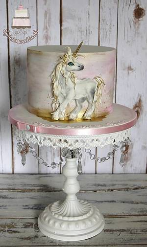 Unicorn and watercolor... - Cake by Sylwia