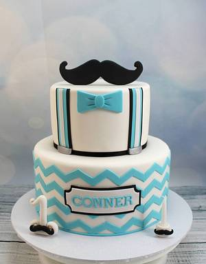 Chevron and moustache 1st birthday - Cake by Kake Krumbs