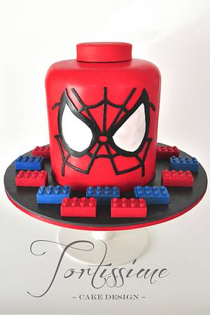 Spiderman Lego Head Cake with Solid Chocolate Lego Blocks - Cake by Tortissime Cake Design