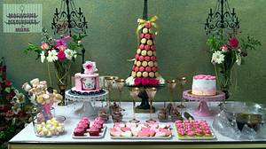 PDCA Caker Buddies Dessert Table Collaboration  : PINK & GOLD P🗼RIS - Cake by RupalsCakes (MACARONS MERINGUES &MORE )
