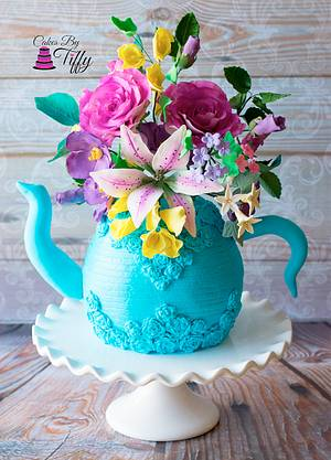 Spring Teapot Flower Cake - Cake by Cakes By Tiffy