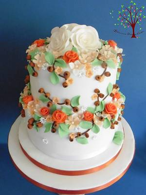 Autumnal Blossoms & Berries - Cake by Blossom Dream Cakes - Angela Morris
