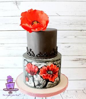 2D Buttercream PAINTED & 3D Gumpaste POPPY - Art Inspired Cake - Cake by Violet - The Violet Cake Shop™