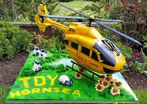 Yorkshire Air Ambulance TDY  Helicopter Cake - Cake by The Secret Cake Lady