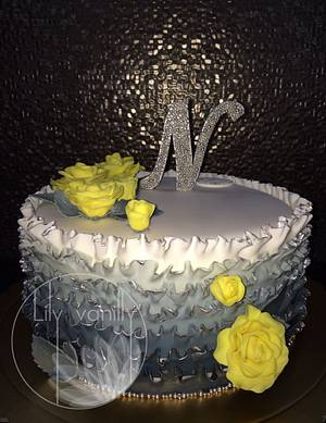 """""""Yellow N Grey"""" Birthday Cake - Cake by Lily Vanilly"""