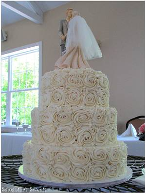 Romantic Rosette Wedding Cake - Cake by Samantha Eyth