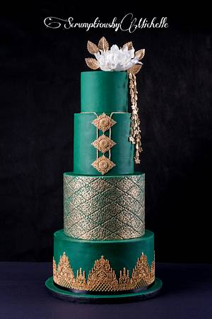 Emerald green and gold wedding cake - Cake by Michelle Chan