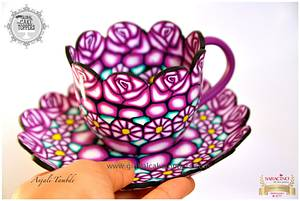 Patterned Tea Cup and Saucer - Cake by GlobalCakeToppers