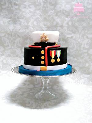 US Marine Corps Dress Blue  - Cake by YB Cakes and More