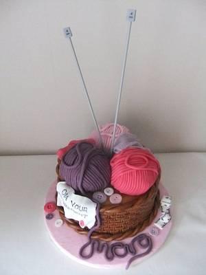 Knitting basket/wool ball cake - Cake by Louise Hodgson