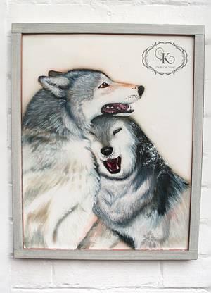 Edible painting of wolves - Cake by Karolina Andreas