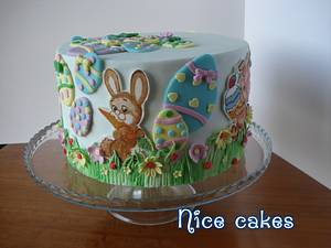 Easter cake with hand painting bunnies - Cake by Paula Rebelo