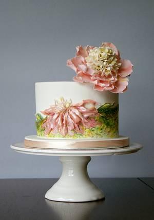 Peonies - Cake by Katarzynka