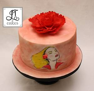 Peony girl - Cake by JT Cakes