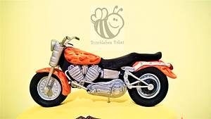 Harley Davidson Cake with edible gumpaste bike - Cake by Bumblebee Bakes Goa