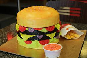 Burger Cake with White Chocolate Ganache n French Fries - Cake by Varsha Bhargava