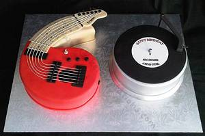 60th Guitar and record  - Cake by Cake Temptations (Julie Talbott)