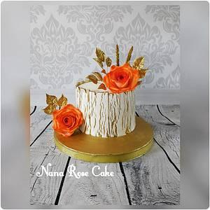 Gold and Orange Rose  - Cake by Nana Rose Cake