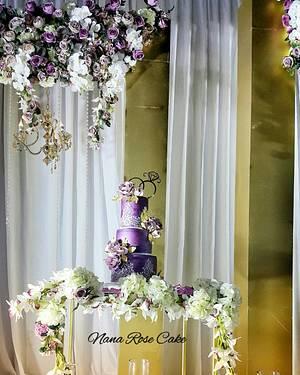 Dark Purple Mitalic wedding cake  - Cake by Nana Rose Cake