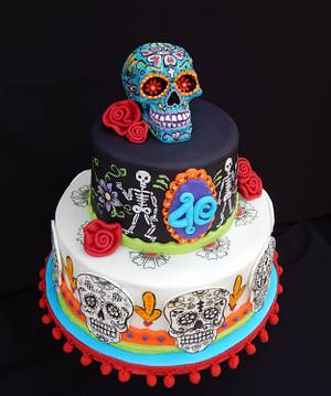 Day of the Dead 40th - Cake by Elizabeth Miles Cake Design