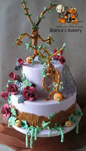 Halloween Collaboration Trees and red roses - Cake by Bianca's Bakery