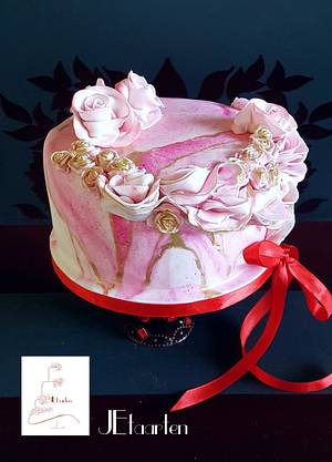 Pink marbled and roses birthday cake - Cake by Judith-JEtaarten