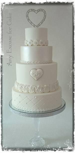 White on white wedding cake  - Cake by Any Excuse for Cake