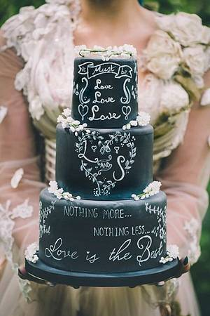 'It must be love' chalkboard wedding cake - Cake by Samantha Tempest