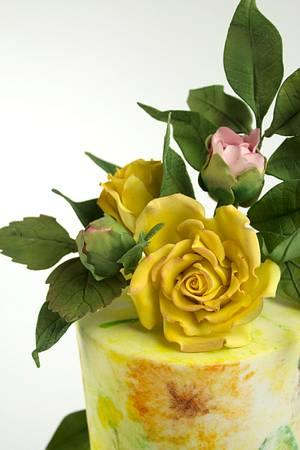YELLOW CAKE-WATERCOLOR - Cake by Cesar Renteria Cakes