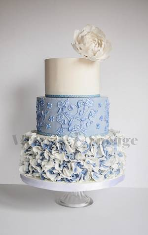 French Blue Ruffle Rose Wedding Cake - Cake by Victoria Forward