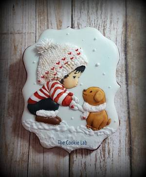 """A small """"Pictorial"""" on a boy and dog cookie! - Cake by The Cookie Lab  by Marta Torres"""