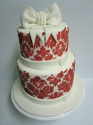 Red Damask Cake with Giant Bow - Cake by Lydia Evans