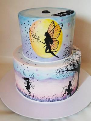 Handpainted fairies - Cake by Veronika