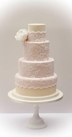 Dusky pink wedding cake  - Cake by Samantha's Cake Design