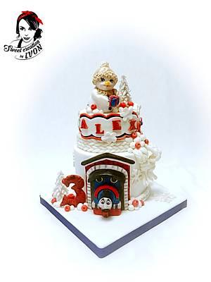 Winter cake/Thomas the Train - Cake by Ivon