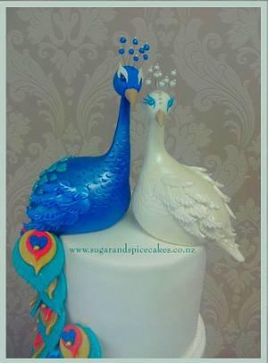 Peacock Wedding Cake & Cascading Cupcakes - Cake by Mel_SugarandSpiceCakes
