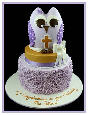Christening cake with rose ruffle effect and owl - Cake by InspiredbyMichelle