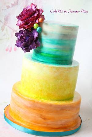 Colourful Watercolour Cake with Handmade Glitter Peonies  - Cake by Cake! By Jennifer Riley