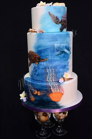 Ocean themed cake. Free hand painting. - Cake by Cosette