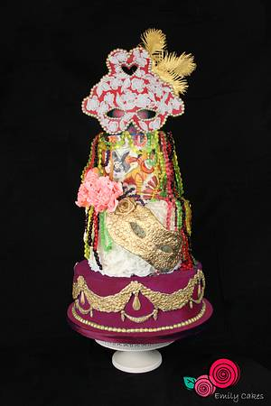 Mardi Gras Party cake - Carnival Cakers Collaborations - Cake by Emily Calvo