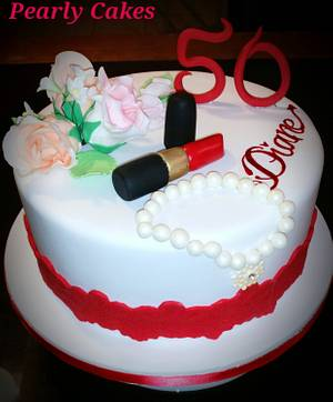 Red Lipstick & a Pearl Bracelet 50th Birthday Cake  - Cake by Pearly Cakes