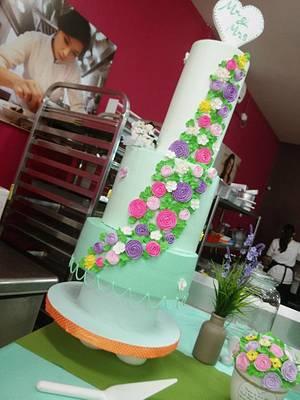 wedding cake floral flowers themed - Cake by Feber Johannes Pasaribu