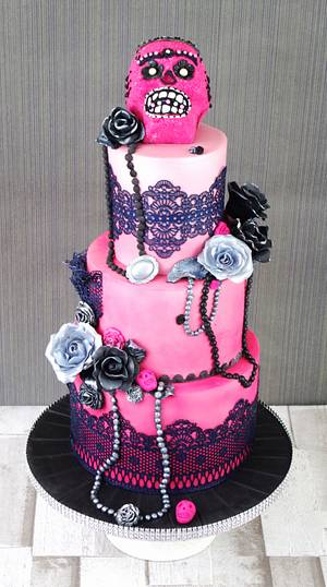 Pink ombre sugar skull themed cake  - Cake by Donnasdelicious