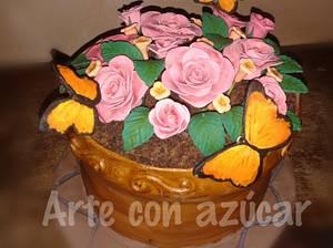Flower pot cake - Cake by gabyarteconazucar