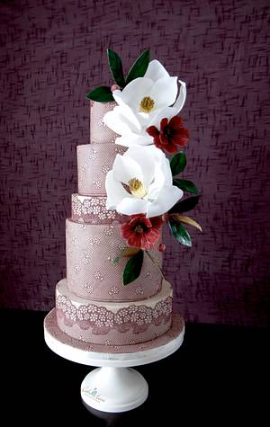 Maroon and Magnolias - Cake by Cake Heart